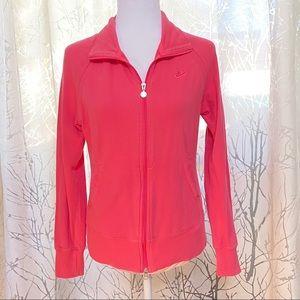 Nike pink athletic zip up long sleeve top